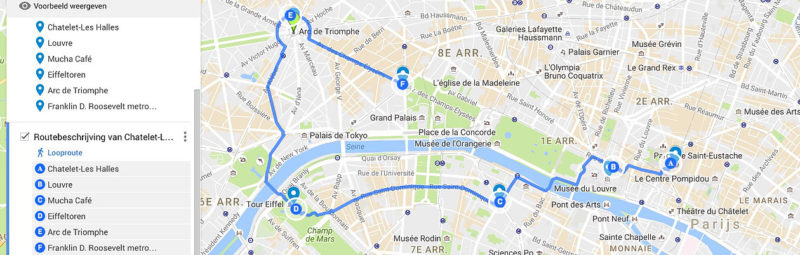 Route door Parijs