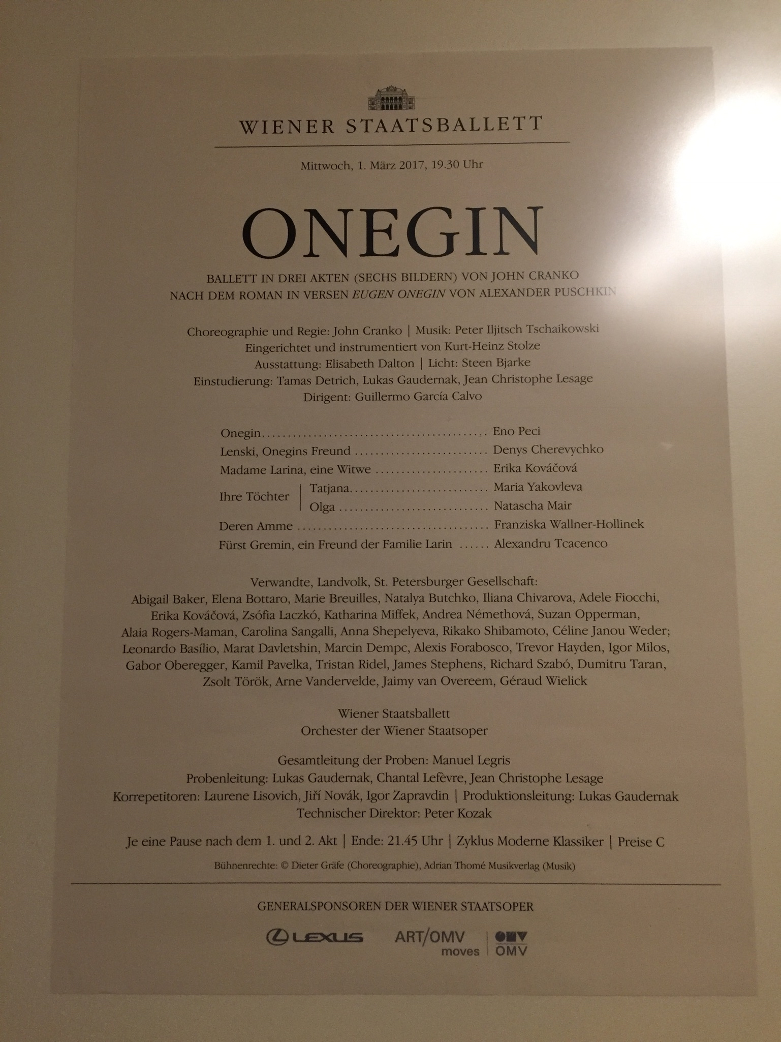 Wenen Staatsopera Onegin ballet voorstelling