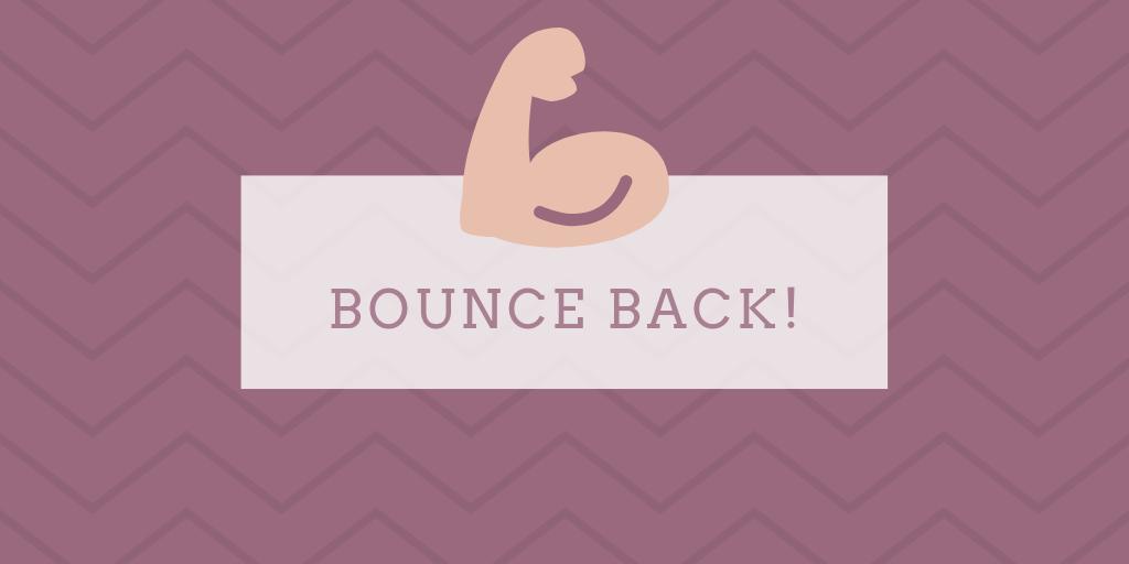 'Bounce back' motivatie quote voor herstellen na tegenslag