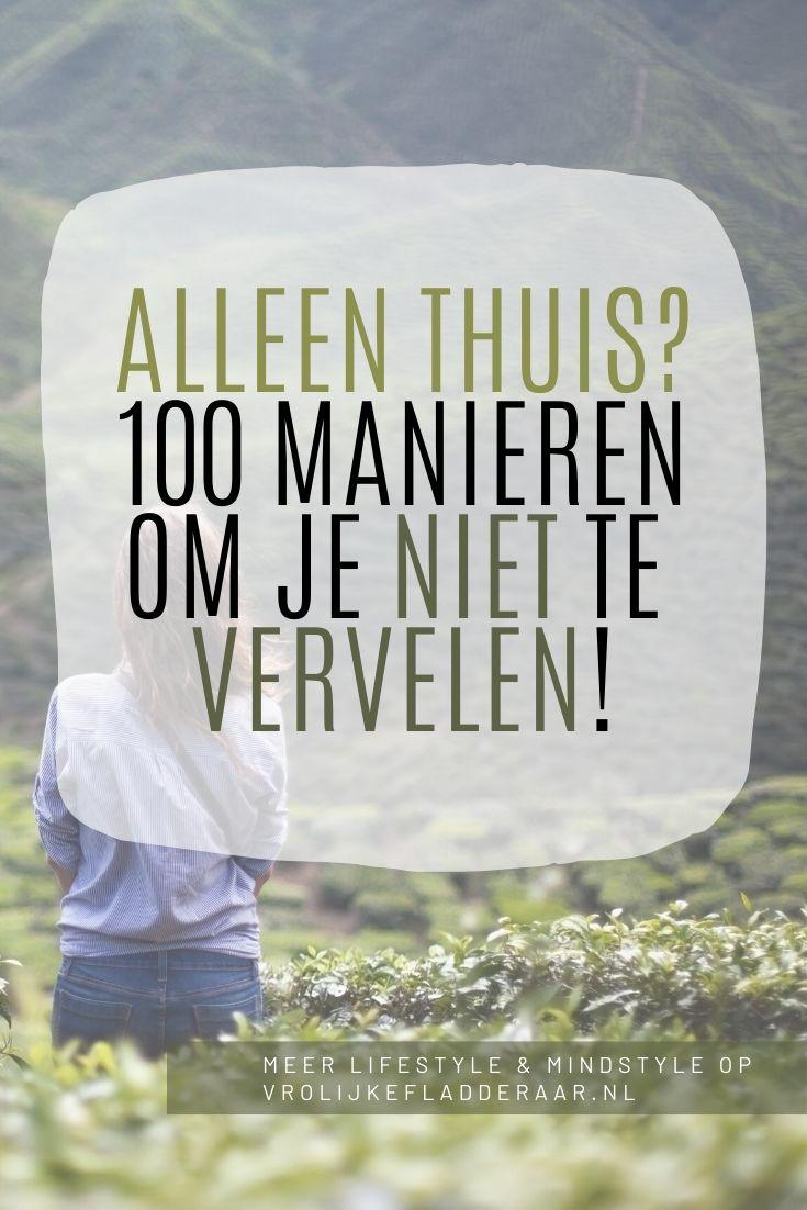 pinterest pin met de tekst: alleen thuis? 100 manieren om je niet te vervelen!