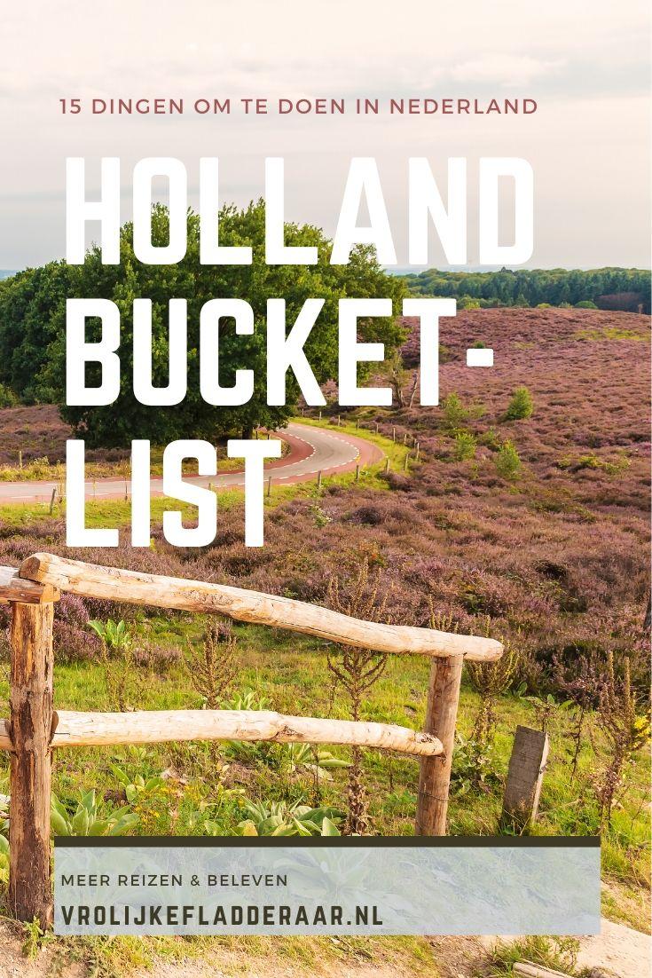 pinterest pin met de tekst '15 dingen om te doen in Nederland - Holland bucketlist' met de heide van de veluwe op de achtergrond